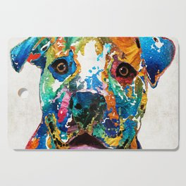 Colorful Dog Pit Bull Art - Happy - By Sharon Cummings Cutting Board