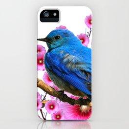 DECORATIVE BLUE BIRD & PINK HOLLYHOCKS VIGNETTE iPhone Case