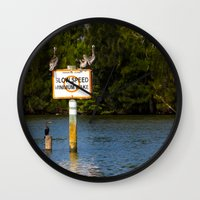 manatee Wall Clocks featuring Manatee Zone by Roger Wedegis