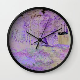 cabin in the woods with steps Wall Clock