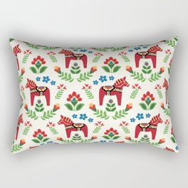 Swedish Dala Horses Red Rectangular Pillow