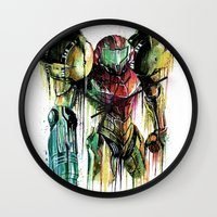 samus Wall Clocks featuring Samus Aran by David Lakin