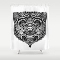 "ethnic Shower Curtains featuring ""Ethnic Bear"" by beart24"
