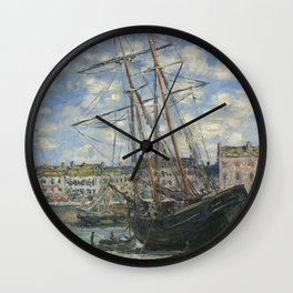 Claude Monet - Boats Lying at Low Tide at Facamp Wall Clock