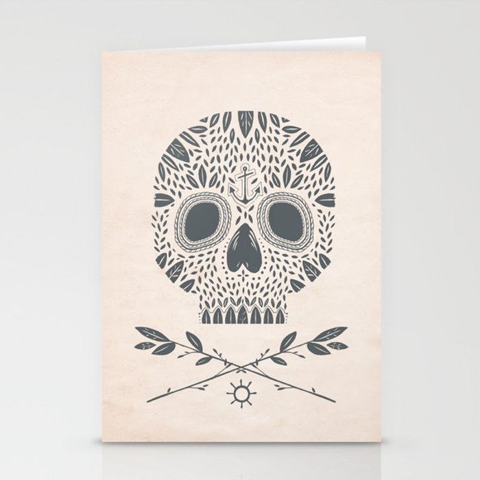 LEAF SKULL Stationery Cards