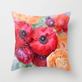 Rosey Ranunculus Throw Pillow
