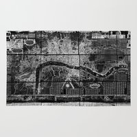 london map Area & Throw Rugs featuring London Map by Le petit Archiviste