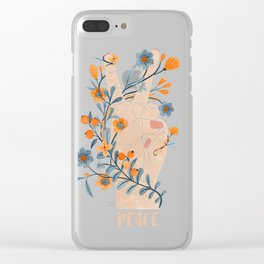 Peace Sign With Orange Flowers, Blue Flowers And Vines Clear iPhone Case