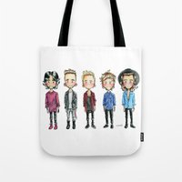 one direction Tote Bags featuring One direction by levvelli