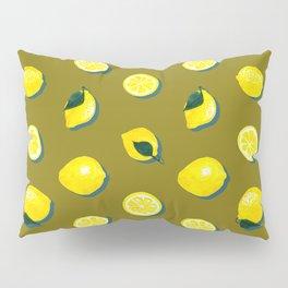 60s Lemon Pattern on Olive Pillow Sham