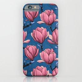 Magnolia garden on blue iPhone Case