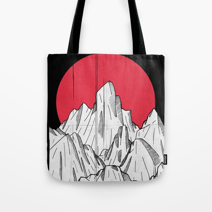 The red sun and the mountains Tote Bag