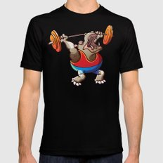 Olympic Weightlifting Hippopotamus Mens Fitted Tee Black MEDIUM