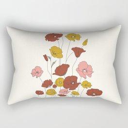 Colorful Poppy Flowers Rectangular Pillow