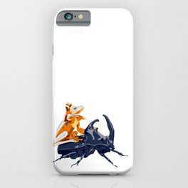 Cute Frog on a Beetle's back - funny meme art  iPhone Case