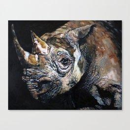 The Vanishing -Western Black Rhino, Now Extinct Canvas Print