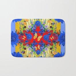 VERY BLUE  FLOWERS YELLOW BUTTERFLIES PATTERN ART Bath Mat