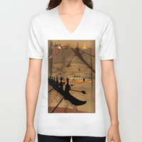 rowing V-neck T-shirts featuring Rowing by Robin Curtiss
