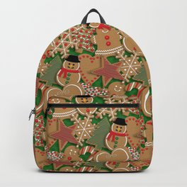 Christmas Holiday Gingerbread Cookies // Gingerbread Boys and Girls, Snowmen, Snowflakes, Xmas Trees and Candy Cane Backpack
