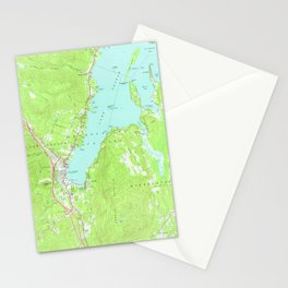 Vintage Map of Lake George New York (1966) 2 Stationery Cards