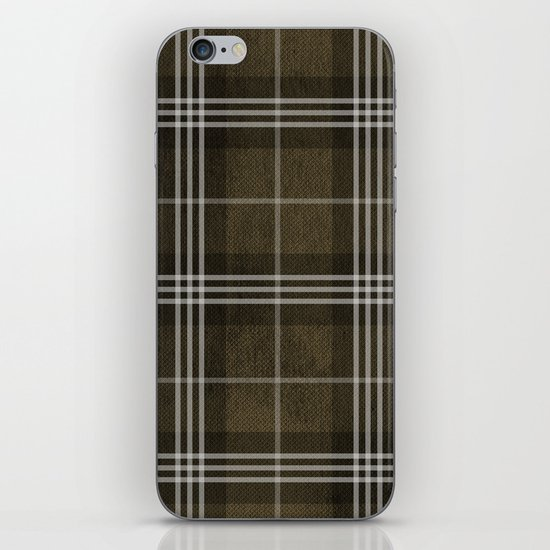 Grungy Brown Plaid iPhone & iPod Skin