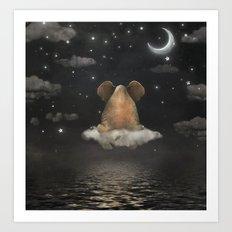 Sad elephant sitting on cloud in  night sky  Art Print
