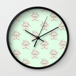 Little cute house cross stitch pattern - green Wall Clock