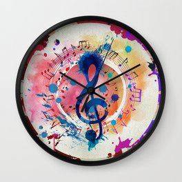 Fun Musical Notes and Treble Clef Paint Splatter Wall Clock
