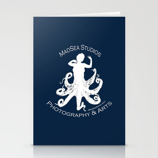 MadSea Nymph, white on blue Stationery Cards