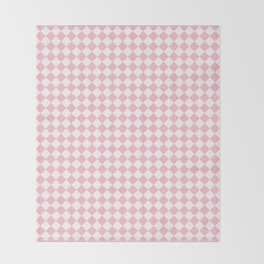 Small Diamonds - White and Pink Throw Blanket