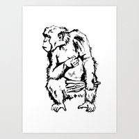 ape Art Prints featuring Ape by Kathryn Burton