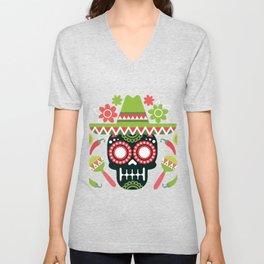 Mexican Cinco De Mayo Skull Party Unisex V-Neck