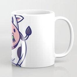 Cute Cow Eating Grass Cartoon Icon Illustration Animal Icon Concept Isolated Flat Cartoon Style Coffee Mug