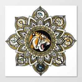 Black and Gold Roaring Tiger Mandala With 8 Cat Eyes Canvas Print