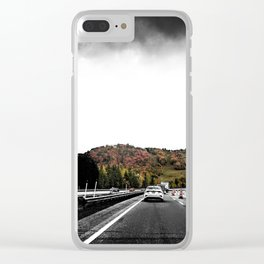 Highway Autumn Drive POV Photograph Color/Black & White Mashup Clear iPhone Case