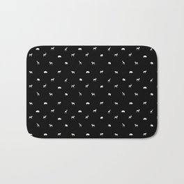 SMALL ANIMALS PATTERN in black and white Bath Mat