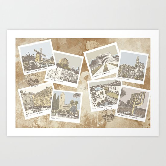 vintage jerusalem Art Print