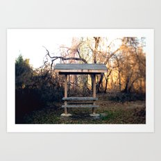 Covered Table in Brick, NJ Art Print