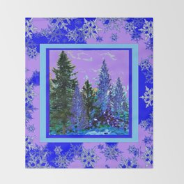 BLUE-LILAC WINTER SNOWFLAKE CRYSTALS FOREST ART DESIGN Throw Blanket