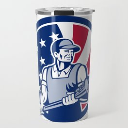 American Plumber and Pipefitter USA Flag Icon Travel Mug