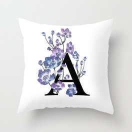 Letter 'A' Anemone Flower Typography Throw Pillow