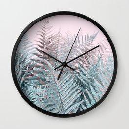 Duotone Fern Jungle on Soft Pink Wall Clock