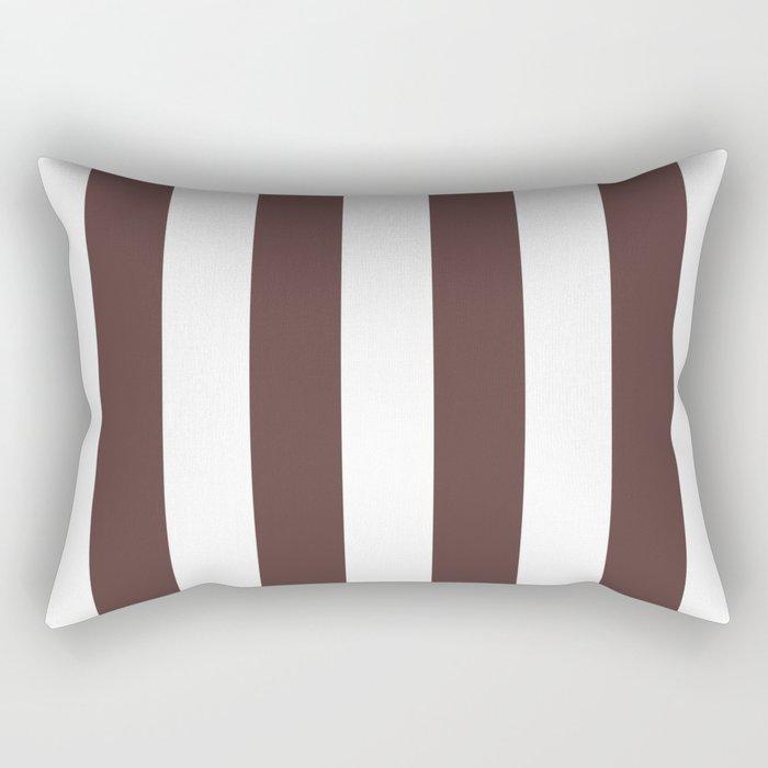 Dark Brown Granite and White Wide Vertical Cabana Tent Stripe Rectangular Pillow