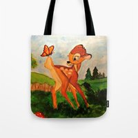 bambi Tote Bags featuring Bambi by Jadie Miller