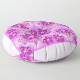 Pink Color Abstracted Modern Purple Moth Orchids Floor Pillow