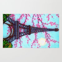 eiffel tower Area & Throw Rugs featuring Eiffel Tower by ArtLovePassion