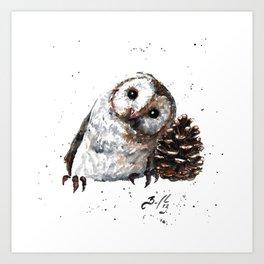 Owl + Pine Cone Art Print