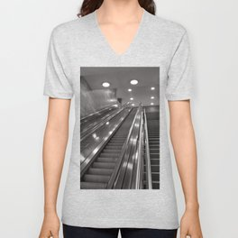 Underground station - stairs - Brandenburg Gate - Berlin Unisex V-Neck