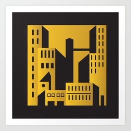 Golden city art deco Art Print