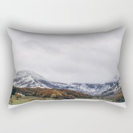 Crummock Water, with snow covered fells. Cumbria, UK. Rectangular Pillow
